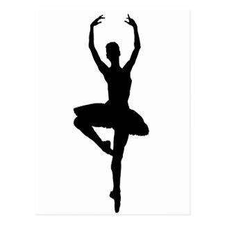 Cartão Postal ~~ do PIROUETTE da BAILARINA (silhueta da dança do