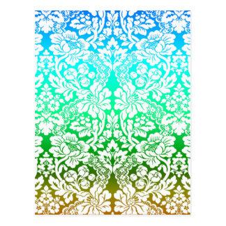 Cartão Postal Do teste padrão floral do laço de Ombre ouro verde