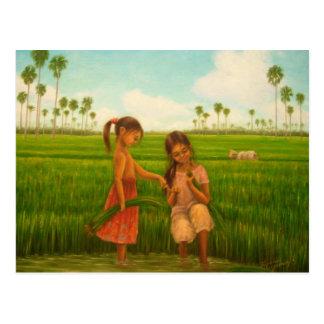 """Cartão Postal Do """"transplantação arroz"""" por Kyoko Yamaji"""