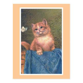 """Cartão Postal Do """"vintage do gatinho e da borboleta gengibre"""""""