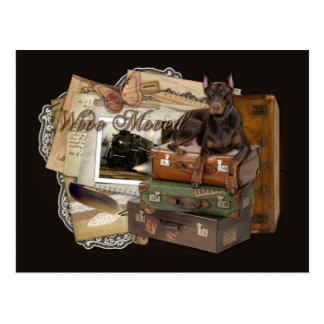 Cartão Postal Doberman de viagem - rochoso