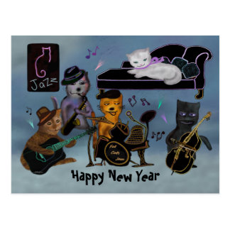Cartão Postal Doce gordo do ano novo dos gatos