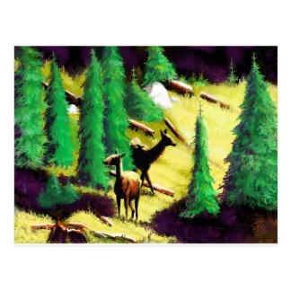 Cartão Postal Dois alces na luz solar