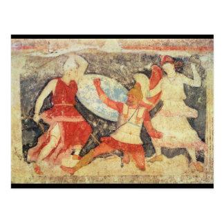 Cartão Postal Dois Amazons no combate com um grego