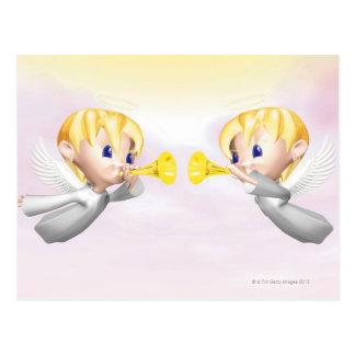 Cartão Postal Dois anjos que fundem os chifres, CG, 3D,