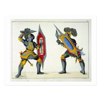 Cartão Postal Dois cavaleiros que lutam, placa 'de uma história