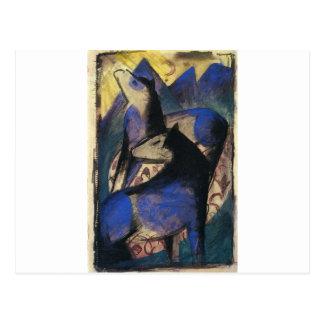 Cartão Postal Dois cavalos azuis por Franz Marc