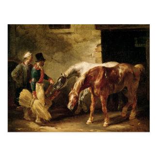 Cartão Postal Dois cavalos de cargo na porta de um estábulo