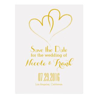 Cartão Postal Dois corações entrelaçados salvar a data - ouro