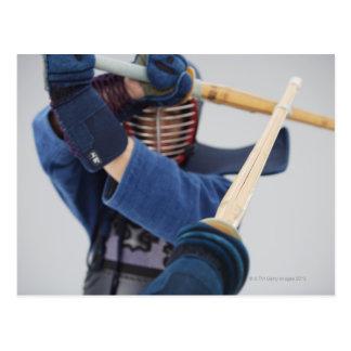 Cartão Postal Dois esgrimistas de Kendo que Sparring 2