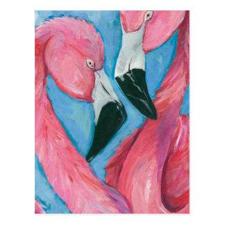 Cartão Postal Dois flamingos