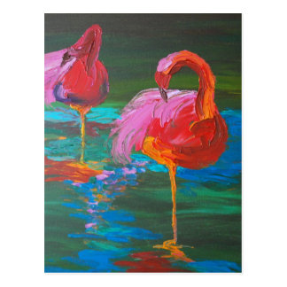 Cartão Postal Dois flamingos cor-de-rosa no lago verde (arte de