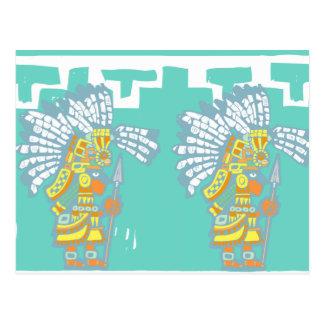 Cartão Postal Dois guerreiros #1 de Teotihuacan