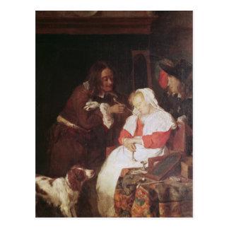 Cartão Postal Dois homens com uma mulher de sono, c.1655-60