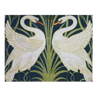 Cartão Postal Dois pássaros de Nouveau do vintage das cisnes
