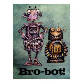 Cartão Postal Dois robôs engraçados - Bro-Bot!