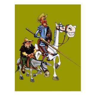 Cartão Postal DON QUIJOTE, SANCHO, ROCINANTE y RUCIO - Cervantes