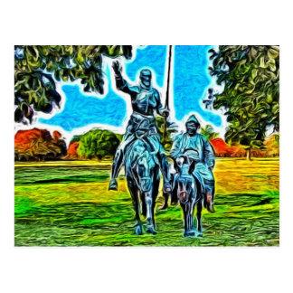 Cartão Postal Don Quixote e Sancho Panza a cavalo