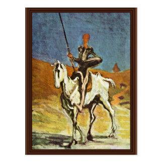 Cartão Postal Don Quixote e Sancho Panza por Daumier Honoré