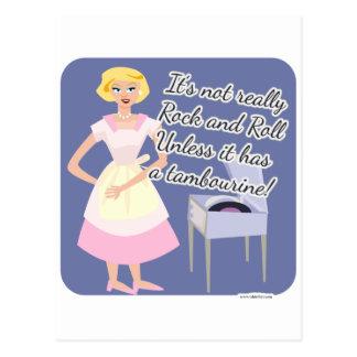 Cartão Postal Dona de casa do anos 50 do pandeiro do rock and