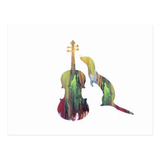 Cartão Postal Doninha e saxofone