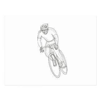 Cartão Postal Doodle de competência da bicicleta da estrada
