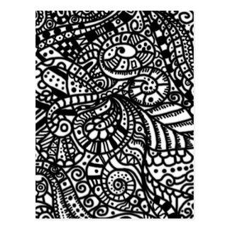 Cartão Postal Doodles pintados à mão preto e branco