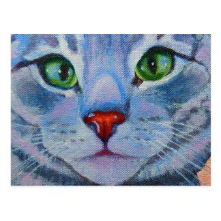 Cartão Postal Dora azul, gato de gato malhado cinzento
