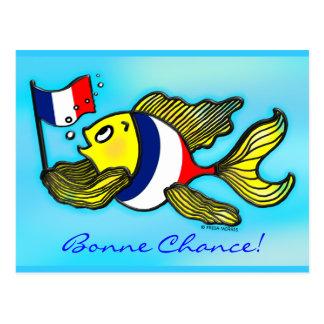 Cartão Postal Dos peixes franceses da bandeira da POSSIBILIDADE