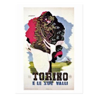 Cartão Postal Dos vales retros de Turin do vintage viagem