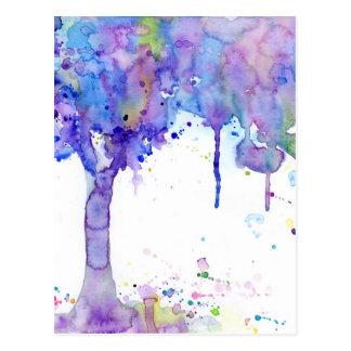 Cartão Postal Dossel de árvore roxo abstrato da aguarela