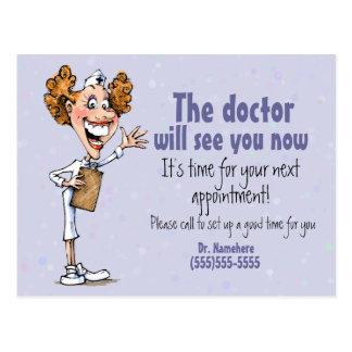 Cartão Postal Doutor/cartão médico do lembrete da nomeação