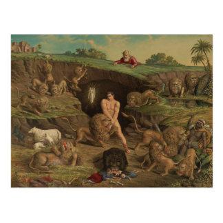 Cartão Postal Doze tentações Daniel no antro dos leões (1877)