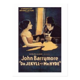 Cartão Postal Dr. Jekyll e filme de terror do Sr. Hyde