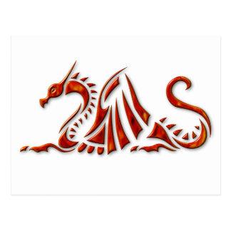 Cartão Postal Dragão chanfrado vermelho metálico