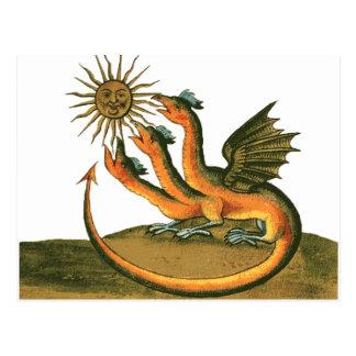 Cartão Postal Dragão da alquimia com lua e Sun