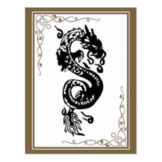 Cartão Postal Dragão preto e branco