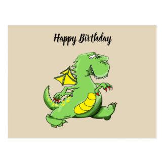 Cartão Postal Dragão verde dos desenhos animados que anda em