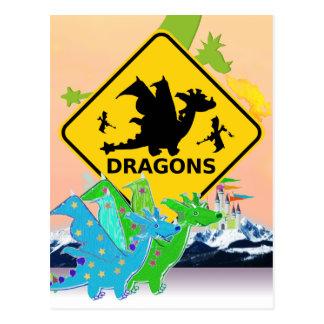 Cartão Postal Dragões bonitos dos desenhos animados