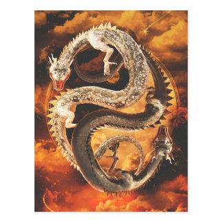 Cartão Postal Dragões de Yin Yang - caos