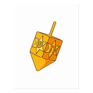 Cartão Postal Dreidel dourado