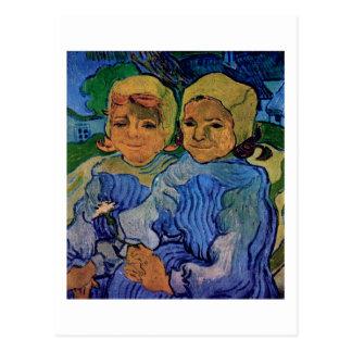 Cartão Postal Duas crianças, belas artes de Van Gogh