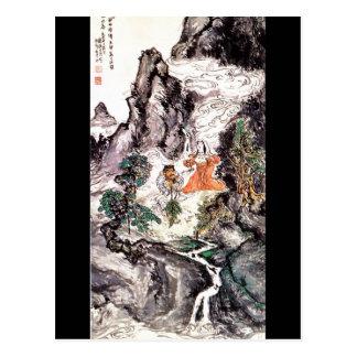 Cartão Postal Duas divindades que dançam a pintura do japonês do