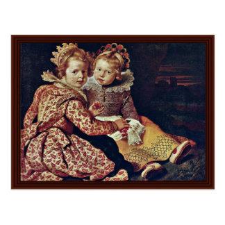 Cartão Postal Duas filhas do pintor por Vos Cornelis De