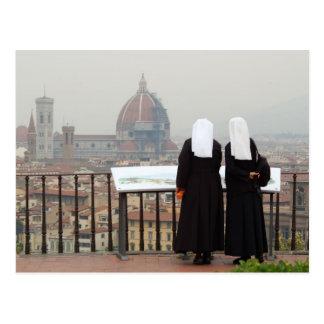 Cartão Postal Duas freiras, Florença, Italia
