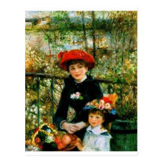 Cartão Postal Duas irmãs no terraço por Renoir