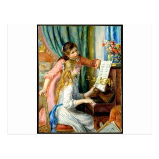 Cartão Postal Duas meninas no piano - Pierre Auguste Renoir