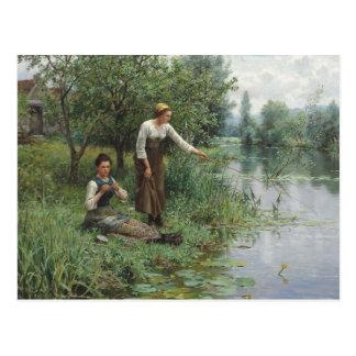 Cartão Postal Duas mulheres que pescam pelo cavaleiro de Daniel