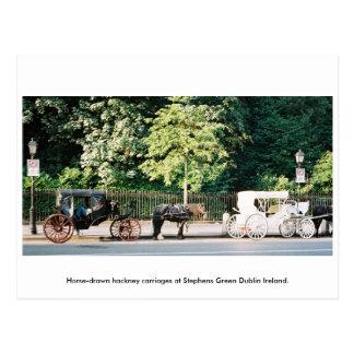 Cartão Postal Dublin Ireland, carruagems verdes do cavalo de