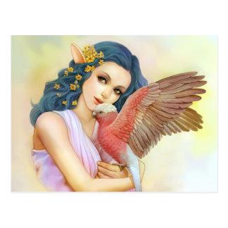 Cartão Postal Duende de cabelo azul e seu galah
